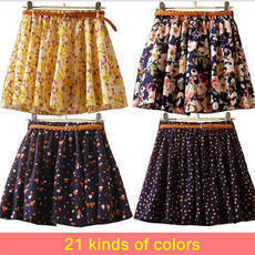 Hot sale ,16 Colors Pleated Floral Chiffon Women Ladies Cute Mini Skirt Belt Include-in Skirts from Apparel & Accessories on Aliexpress.com