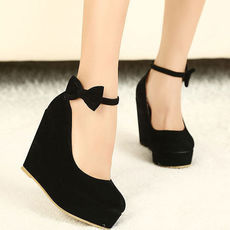 [grxjy5190102]European Style Elegant Bowknot Wedge Shoes
