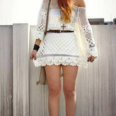 Off White Day Dress Hand Knit Delicacy Of Crochet | Us Trendy