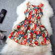 [grhmf26000132]European and American Stars Fresh Floral Silk Dress