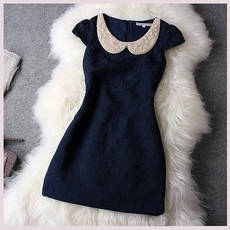 [grhmf2600068]Dark Blue Rhinestones Dress