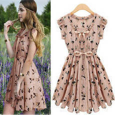 Fashion Cute Elk Pattern Slim Dress