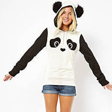 Cute Cartoon Panda Print Hood Sweatshirt from lilystyle