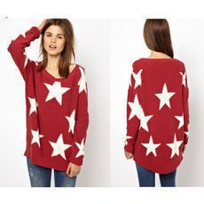 Fashion Pentagram Printed Round Neck Red Sweater&Cardigan just $32 in ByGoods.com