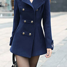 shego shopping mall — [grzxy6600871]Elegant OL Style Solid Color Double Breast Lapel Strap Coat