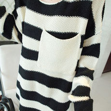 lulula-fashion shopping mall — [ghyxh340055]Black White Wide Stripes Batwing Long Loose Sweater Crewneck Pullover