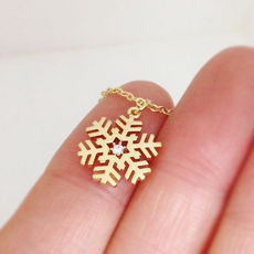 Snowflake Necklace In Gold, Christm..
