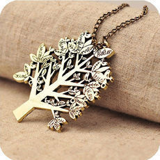lulula-fashion shopping mall — [ghyxh31001]Vintage Antique Bronze Christmas Tree Pendant Chain Necklace