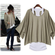 shego shopping mall — [grzxy6601214]Casual Loose Fitting Batwing Sleeve Solid Color Shirt with Vest Set
