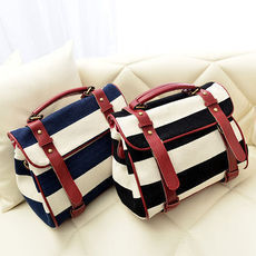 shopbazar shopping mall — [grzxy6200042]Navy Style Retro Stripe Print Motorcycle Bag Handbag