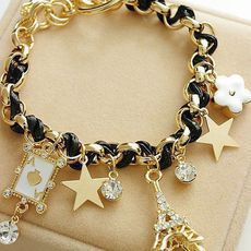Min. order is 9usd(mix order) 2013 Fashion flower love poker eiffel bracelet charm bracelet for girls SL188-inCharm Bracelets from Jewelry on Aliexpress.com