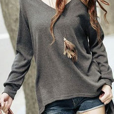 shego shopping mall — [grzxy6601249]Asym Hem V Neck Grey Slouchy T Shirt Blouse Top