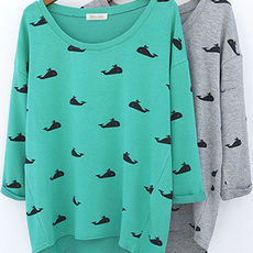 shopbazar shopping mall — [grzxy6601294]Three Quater Sleeves Cutee Whale Graphic Asym Hem Sweatshirt Top