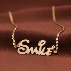 [ghyxh31002]Stainless Steel Letter Smile Pendant Chain Necklace | beautymall - Accessories on ArtFire