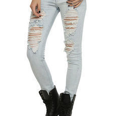 Puzzle Distressed Light Indigo Wash Skinny Jeans | Hot Topic