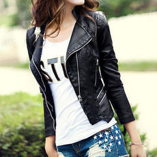 [grxjy561117]Black Quilted Slim Fit Cropped Motorcycle Jacket Coat