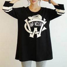 lulula-fashion shopping mall — [ghyxh36166]Stripe Letters Print Black Slouchy Short Sleeve T Shirt Tops