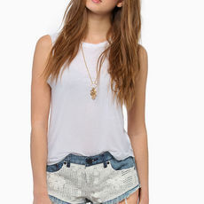 Beverly Crochet Denim Shorts $33