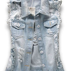 shego shopping mall — [grzxy6601469]Vintage Faded Ripped Lace Sleeveless Denim Jacket Vest