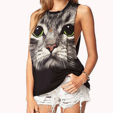 [grxjy561164]Cat with Green Eyes Print Crew Neck Tank Top T Shirt