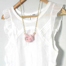Bonds, Crochet Knot Necklace. Nautical Knot. Baby Pink Cotton Yarn | Luulla