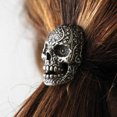 Sugar Skull Ponytail holder in Oxidized Silver Tone White