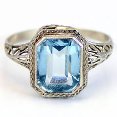 14K Antique Art Deco 1920s CT Aquamarine Anel