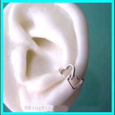 Double love heart 925 Solid sterling silver